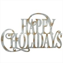 "Galvanized ""Happy Holidays"" Wall Decor."
