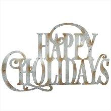 """Galvanized """"Happy Holidays"""" Wall Decor."""