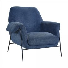 Elie Contemporary Navy Accent Chair with Metal Base