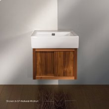 """Wall-mount under-counter vanity, one drawer with finger pulls and one cubby. The drawer has U-shaped notch for plumbing 23 3/8""""W, 18 1/4""""D, 16""""H"""