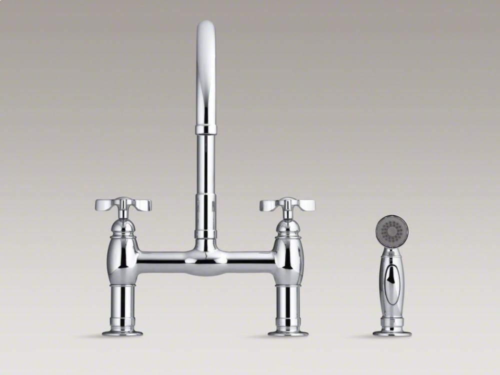 Oil Rubbed Bronze Parq® Two Hole Deck Mount Bridge Kitchen Sink Faucet