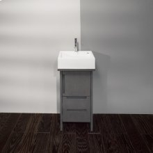 """Free-standing vanity with routed finger pulls on one door and two drawers, 17""""W, 15 """"D, 30""""H. Cut out only provided upon request."""
