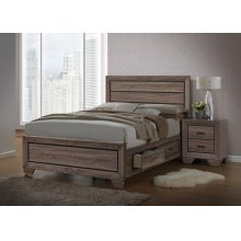 Kauffman Transitional Washed Taupe Queen Bed