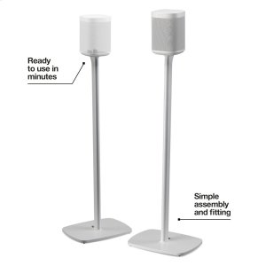 SonosWhite- Pair of secure floor stands for home theatre surrounds.