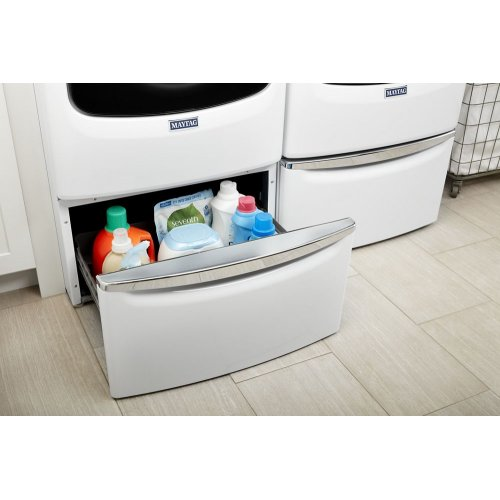 """15.5"""" (39.37 cm) Laundry Pedestal with Chrome Handle and Storage Drawer"""