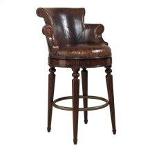 Aged Regency Finished Mahogany Swivel Barstool, Venetian Regal Leather Upholstery