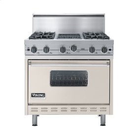 "Oyster Gray 36"" Open Burner Commercial Depth Range - VGRC (36"" wide, four burners 12"" wide char-grill)"