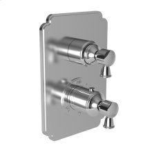 "White 1/2"" Square Thermostatic Trim Plate with Handle"