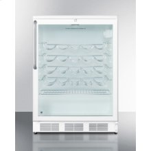 Commercially approved wine cellar for built-in undercounter use, with glass door, white cabinet, and stainless steel towel bar handle