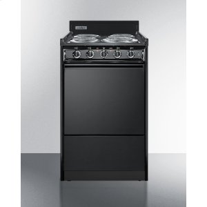 "Summit20"" Wide Electric Range In Black With Lower Storage Compartment"