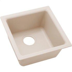 "Elkay Quartz Classic 15-3/4"" x 15-3/4"" x 7-11/16"", Single Bowl Dual Mount Bar Sink, Putty"