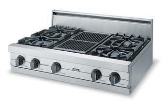 "Eggplant 36"" Open Burner Rangetop - VGRT (36"" wide rangetop with four burners, 12"" wide griddle/simmer plate)"