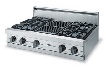 """Forest Green 36"""" Open Burner Rangetop - VGRT (36"""" wide rangetop with four burners, 12"""" wide griddle/simmer plate)"""