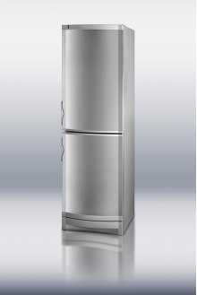 """24"""" wide bottom freezer refrigerator with two compressors, cycle defrost, and stainless steel doors"""