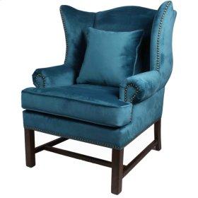 Ellery Fabric Accent Chair Dark Oak Legs, Mozart Blue
