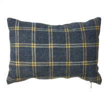 Large Washed Blue & Yellow Plaid Lumbar Pillow.