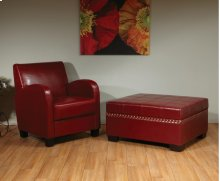 Detour Storage Ottoman With Tray In Crimson Red Bonded Leather