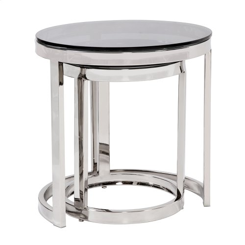 Round Polished Steel Nesting Tables