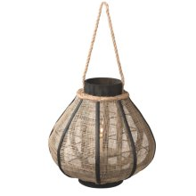 Large Jute Pillar Lantern with Rope Handle