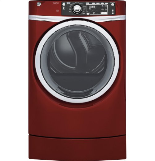 GE® 8.3 cu. ft. capacity RightHeight™ Design Front Load gas ENERGY STAR® dryer with steam