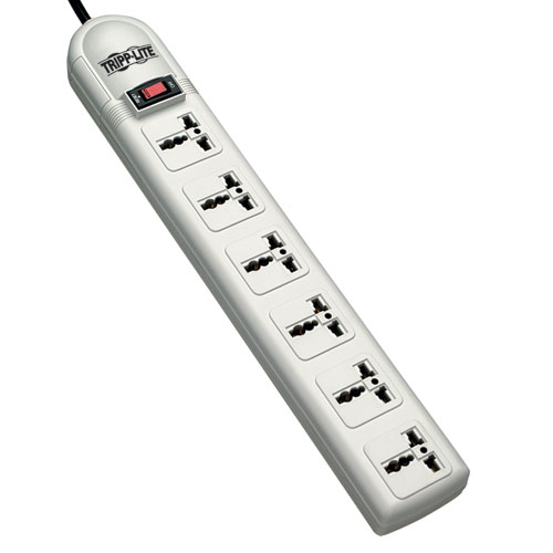 Protect It! 230V 6-Universal Outlet Surge Protector, 1.8M Cord, German/French Plug, 750 Joules