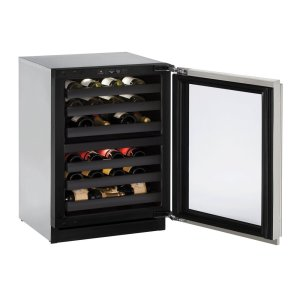 """U-Line Modular 3000 Series 24"""" Wine Captain(r) Model With Stainless Frame (Lock) Finish And Left-Hand Hinged Door Swing (115 Volts / 60 Hz)"""