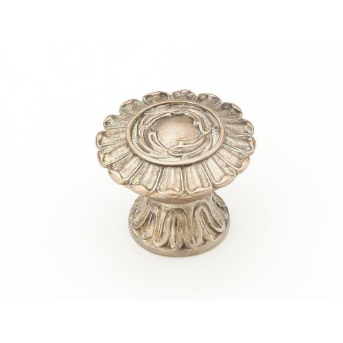 """Solid Brass, Symphony, Swans, Round Knob, 1-1/4"""" diameter, Monticello Silver finish"""