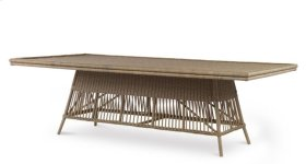 Mainland Wicker Rectangular Dining Table W/ Tempered Glass