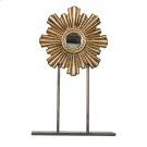 Medium Gold Leaf Iron-wood Mini Mirror On Iron Stand. Product Image