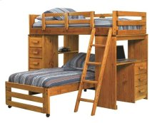 Heartland Twin over Twin Loft Bed with Desk with options: Honey Pine, Twin over Twin
