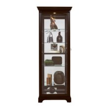 Locking Slide Door 5 Shelf Curio Cabinet in Deep Cherry Brown