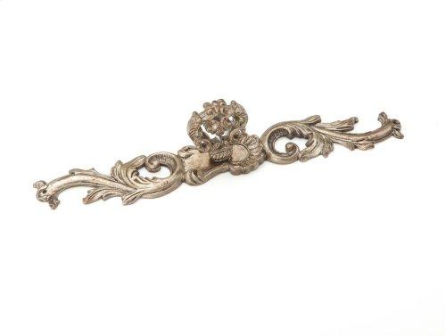 Solid Brass, Symphony, French Court, Knob w/escutcheon, 7-3/8 overall, Monticello Silver