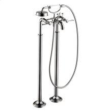 Chrome 2-handle bath mixer floor-standing 1.8 GPM