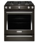 KitchenAid® 30-Inch 5-Burner Gas Convection Front Control Range - Black Stainless Product Image