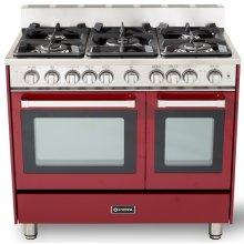 """36"""" Gas Double Oven Range Burgundy 4"""" B/G"""