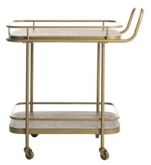 Gaia 2 Tier Rectangle Bar Cart - Rustic Oak / Gold