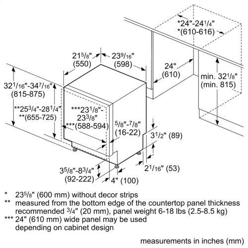 "ADA 24"" 800 Series Custom Panel, 6/5 Cycles, 3rd Rck, 44 dBA, RckMatic,15 Pl Stgs, InfoLight - CP"