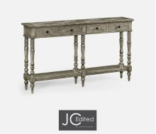 Rustic Grey Parquet Double Console Table