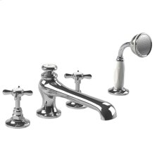 Cross handle 4-hole bath set with pull-up diverter trim only, to suit R1-4024 rough