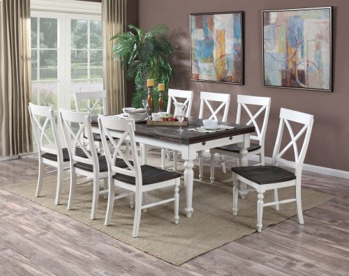 "Emerald Home Mountain Retreat Extension Dining Table W/2 20"" Leaves Top:brn Base:white D601-10"