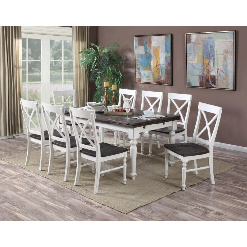 """Emerald Home Mountain Retreat Extension Dining Table W/2 20"""" Leaves Top:brn Base:white D601-10"""