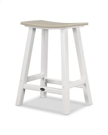 "White & Sand Contempo 24"" Saddle Bar Stool"