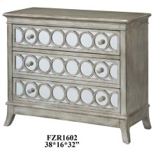 Beverly Gold Leaf Mirrored Circle 3 Drawer Chest