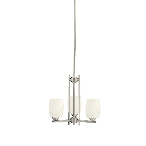 Eileen 3 Light Mini Chandelier with LED Bulbs Brushed Nickel