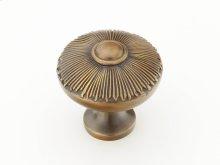 "Solid Brass, Symphony, Sunburst, Round Knob, 1-1/2"" diameter, Estate Dover finish"
