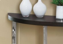 """ACCENT TABLE - 48""""L / CAPPUCCINO / CHROME METAL"""