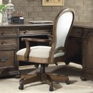 Belmeade - Round Back Upholstered Desk Chair - Old World Oak Finish Product Image