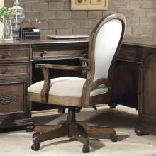 Belmeade - Round Back Upholstered Desk Chair - Old World Oak Finish
