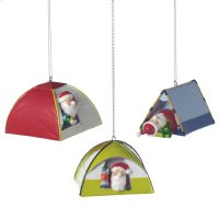Santa in Tent Ornament (3 asstd). Product Image