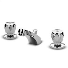 """Three hole basin mixer with aerator 1 1/4"""" pop-up waste flexible pipes."""